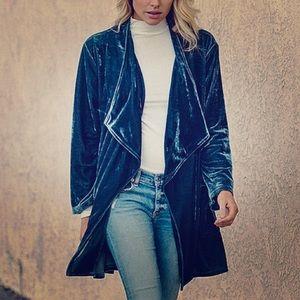 NWOT Amaryllis Velvet Oversized Drape Cardigan